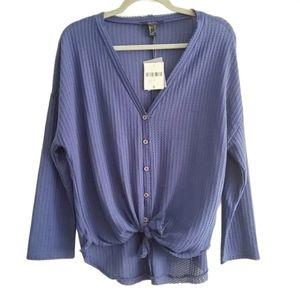 NEW Forever 21 Waffle Knit Button Tie Front Shirt
